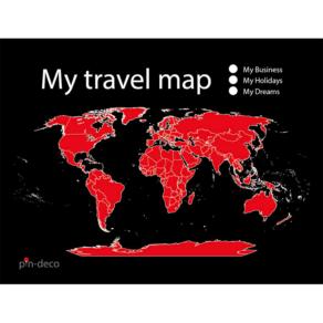 černo červená mapa světa