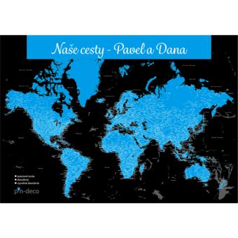černo modrá mapa světa