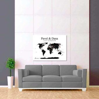 bílo černá mapa světa 2