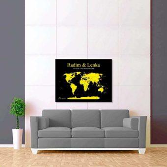 černo žlutá mapa světa 2