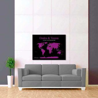 černě fialová mapa světa 2