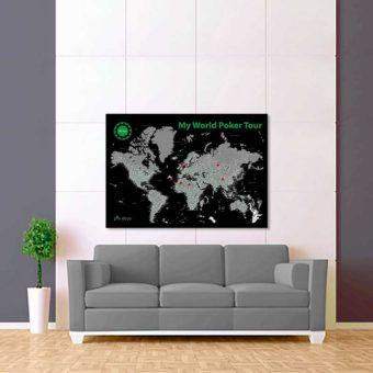 černo šedá mapa světa poker tour 2
