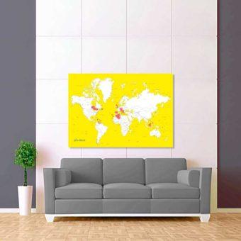 žluto bílá vybarvovací mapa světa 2