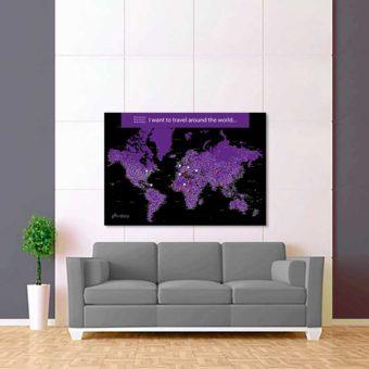 černá tmavě fialová mapa světa rozšířená 2