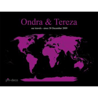 černě fialová mapa světa