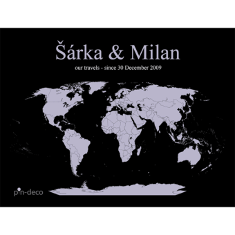 fialovo černá mapa světa
