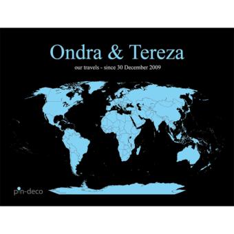 černě modrá mapa světa