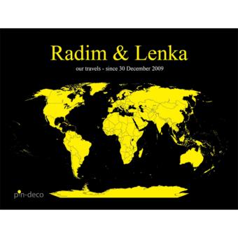 černo žlutá mapa světa