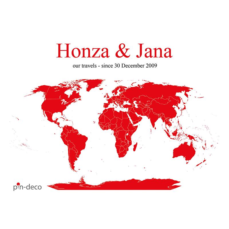 bílo červená mapa světa