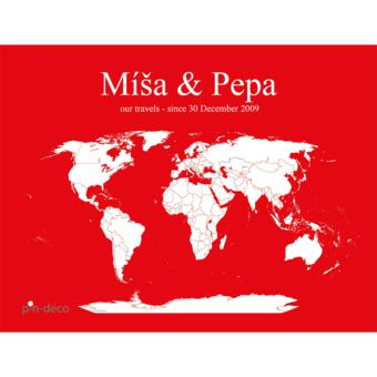 červeno bílá mapa světa