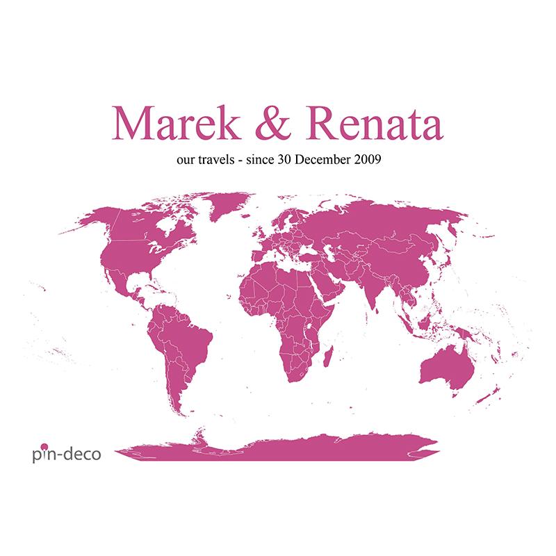bílo růžová mapa světa