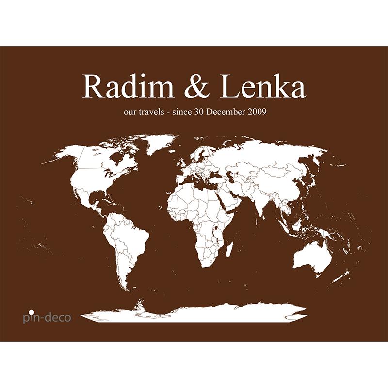 hnědo bílá mapa světa