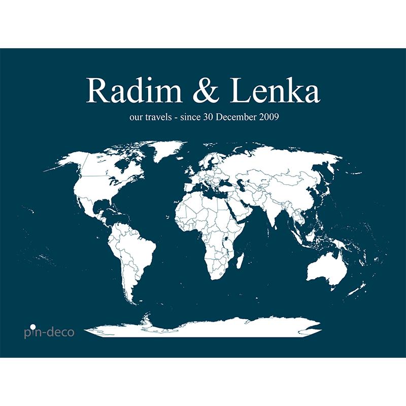 modro bílá mapa světa