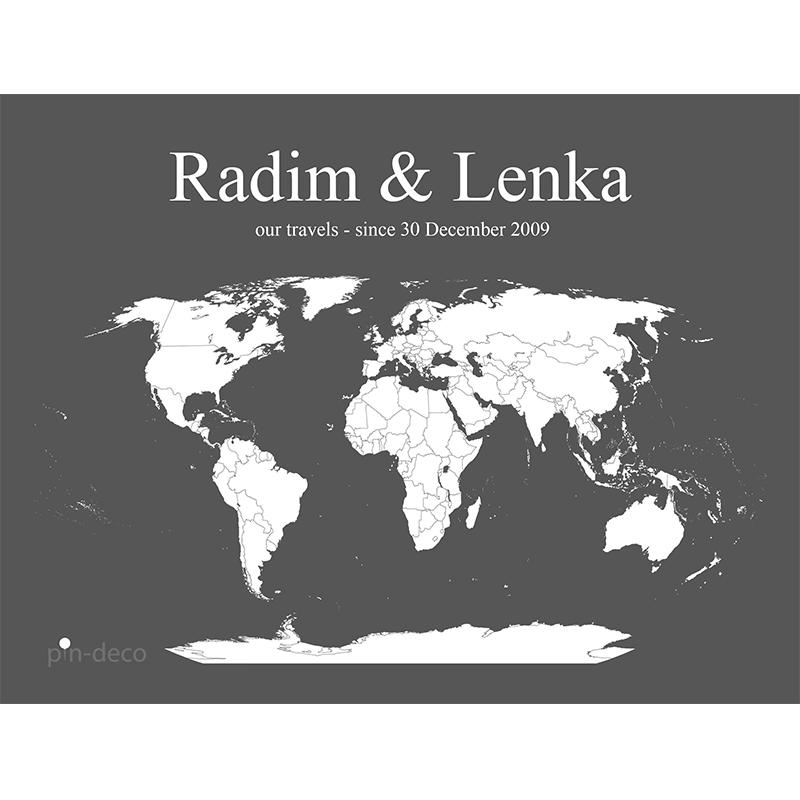 šedo bílá mapa světa