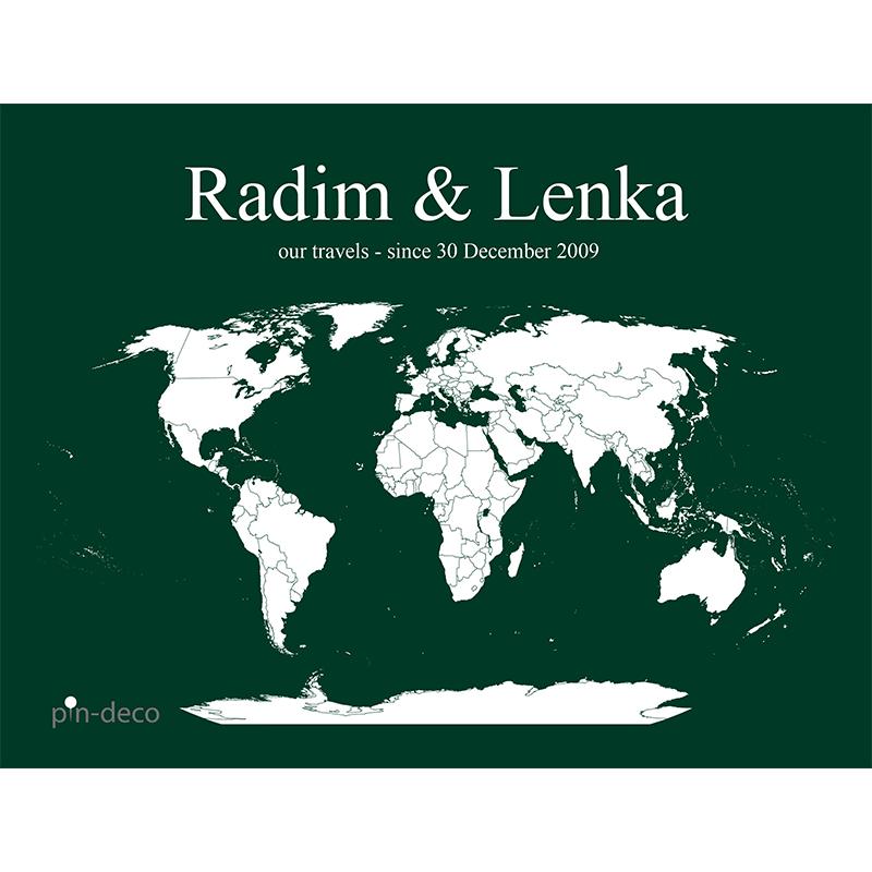 tmavě zeleno bílá mapa