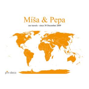 bílo oranžová mapa svět