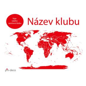 bílo červená mapa světa sport