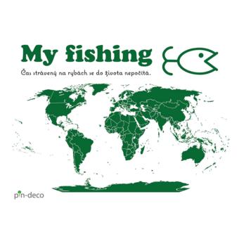 tmavě zelená mapa rybáře