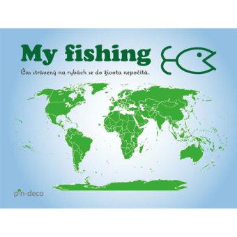 modro zelená mapa rybáře