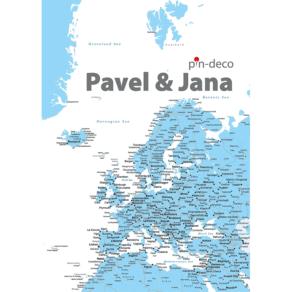 modro bílá mapa evropy