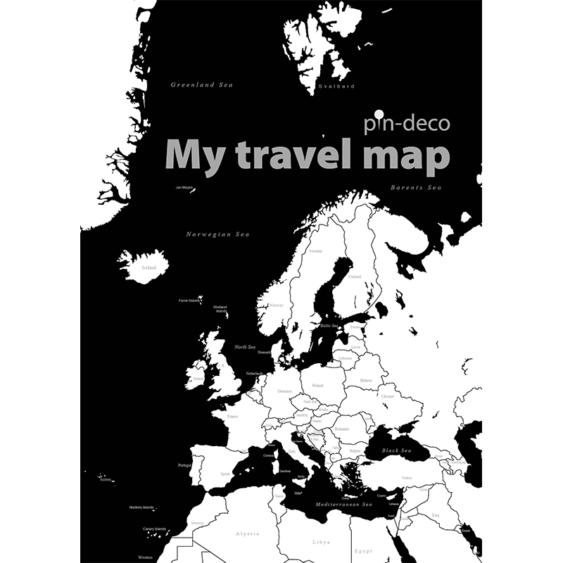 bílo černá mapa evropy