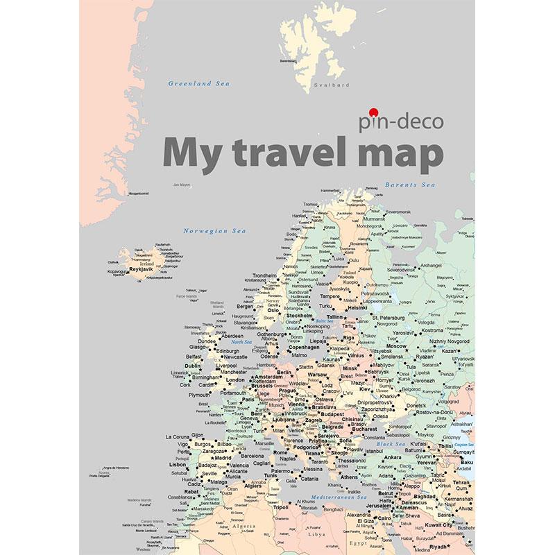 barevná mapa evropy šedá