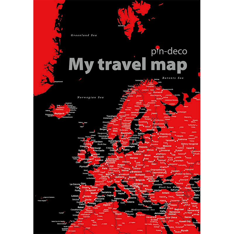 černo červená mapa evropy