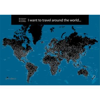 modro černá mapa světa rozšířená