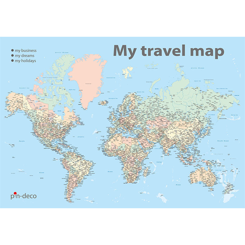 barevná mapa světa rozšířená