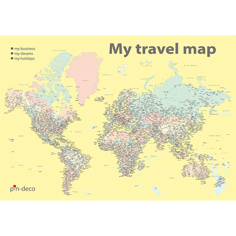 barevná žlutá mapa světa rozšířená