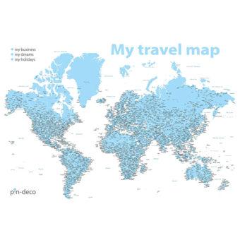 bílo modrá mapa světa rozšířená