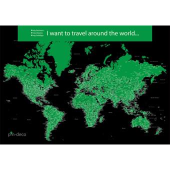 černo zelená mapa světa rozšířená