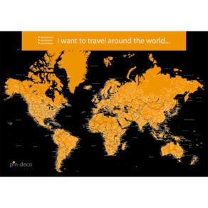 černo žlutá mapa světa rozšířená
