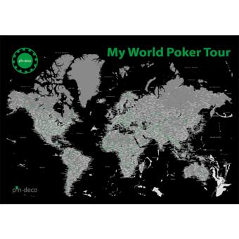 černo šedá mapa světa poker tour