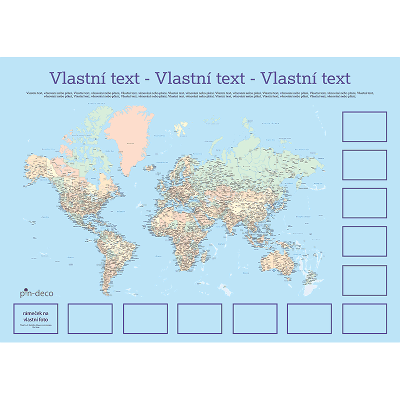modro barevná mapa světa