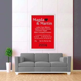 červeno bílá tabulka svatební zeď