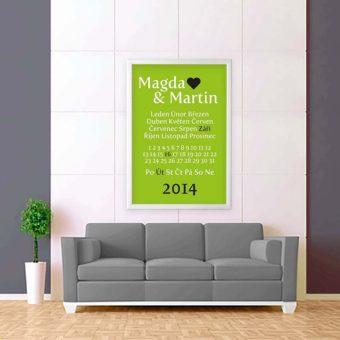 zeleno bílá tabulka svatební zeď