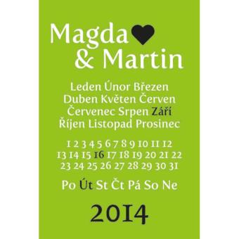 zeleno bílá tabulka svatební